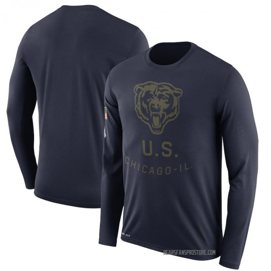 Men's Chicago Bears Navy 2018 Salute to Service Sideline Legend Performance Long Sleeve T-Shirt
